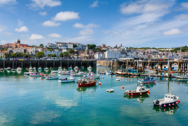 Harbor and Skyline of Saint Peter Port, Guernsey