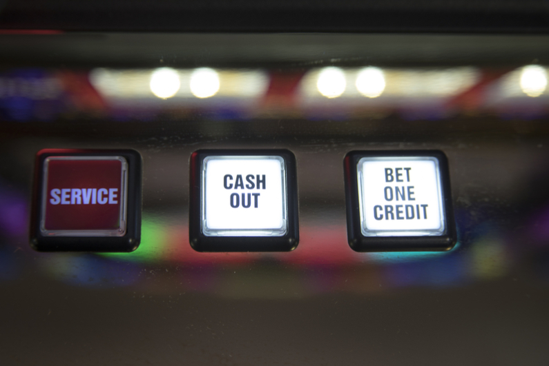 Bet one credit, cash out and service buttons on slot machine