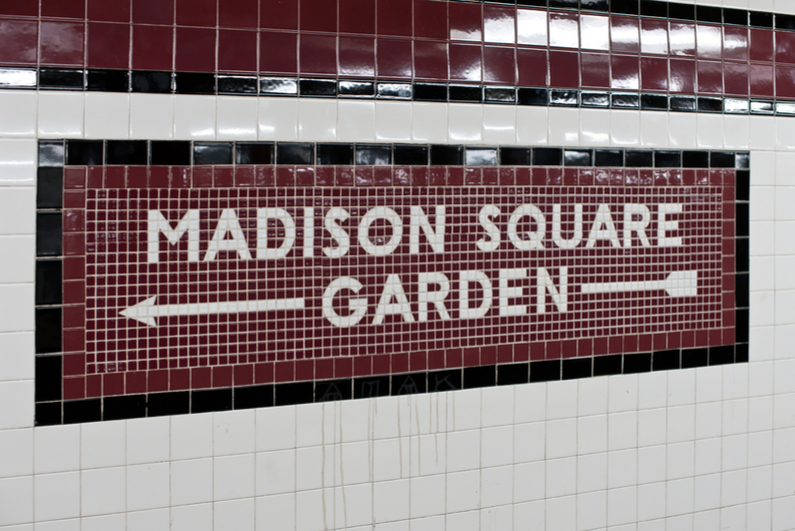 New York City subway sign for Madison Square Garden