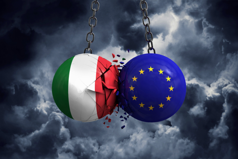 Italy flag and European union political balls smash into each other.