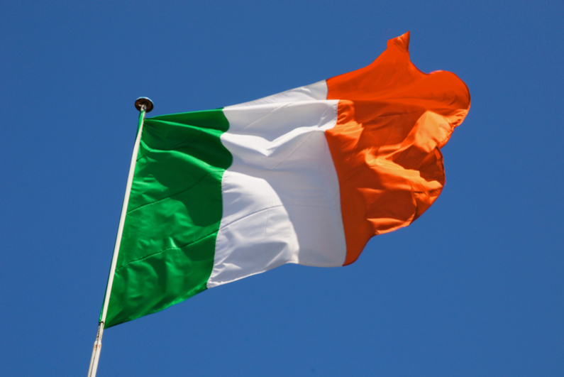 Flag of Ireland fluttering in a stiff breeze