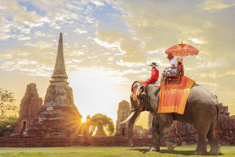 Tourists on elephant ride in Cambodia