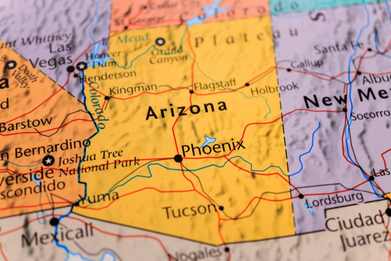 Arizona on a map