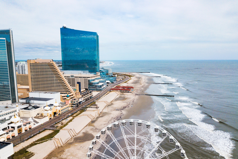 Aerial view of Atlantic City waterfront