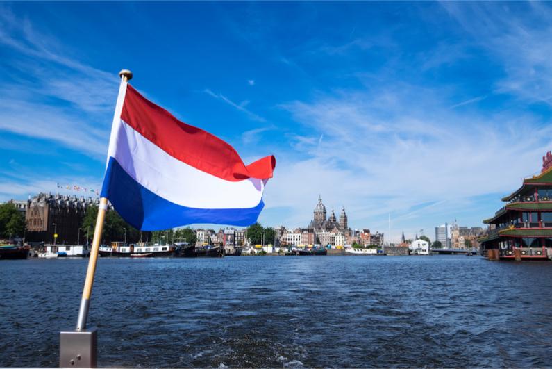 Dutch flag on a boat
