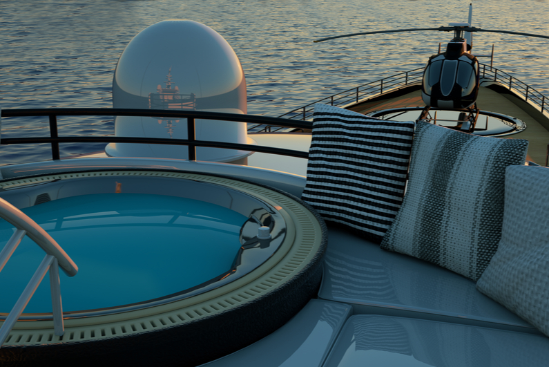 Bow of super luxury yacht