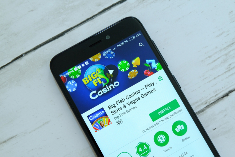 Big Fish Casino on smartphone screen
