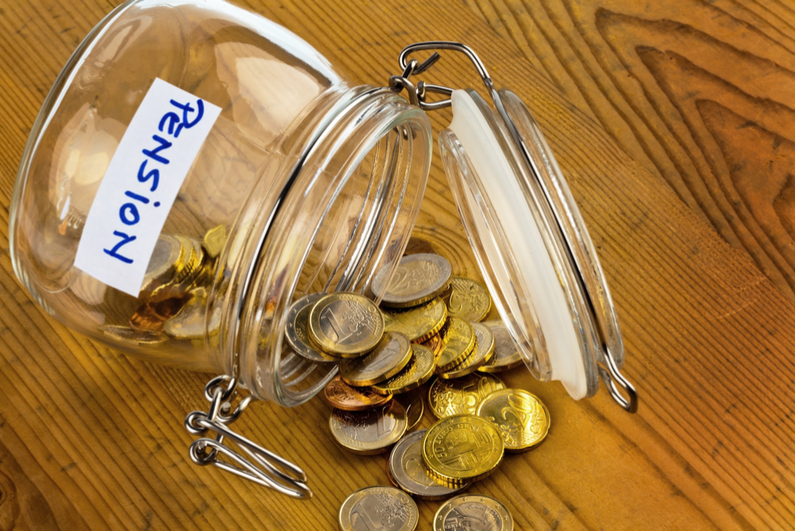 """Jar labeled """"Pension"""" tipped over"""