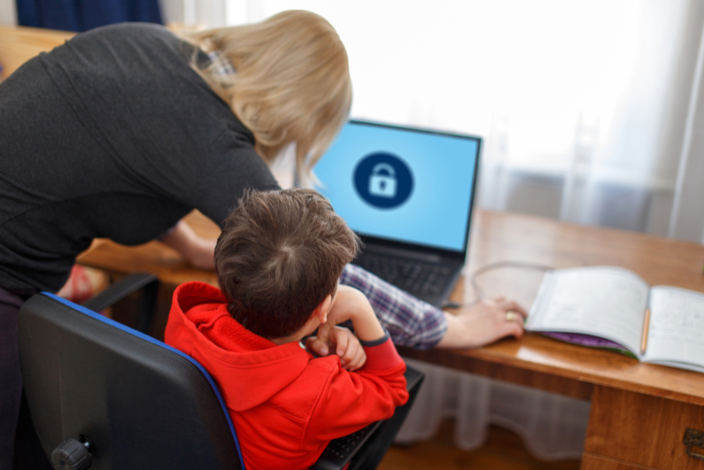 Mother locking computer for little son