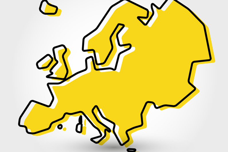 Stylized outline map of Europe