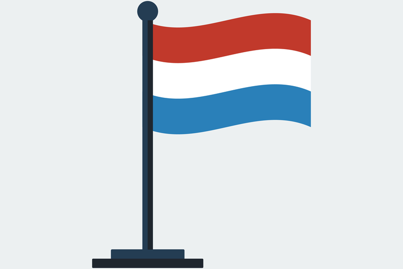 Flag of the Netherlands on a stand