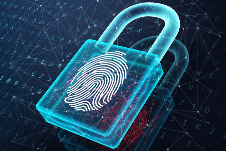 Image of a padlock on a fingerprint