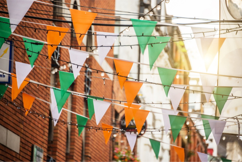 Bunting in the colours of the Irish flag