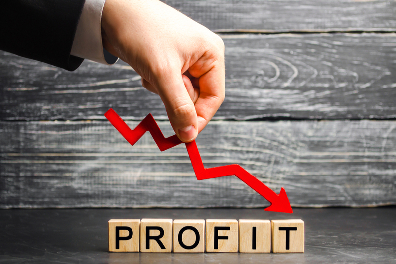 Red arrow shows profit going down