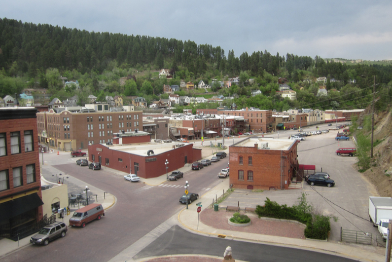 View of historic Deadwood, South Dakota