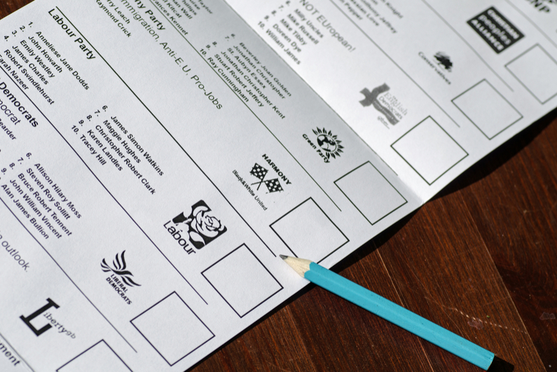 Pencil next to Labour Party box on ballot