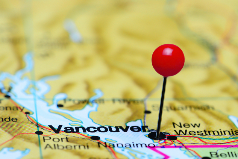 Pin marking Vancouver on map