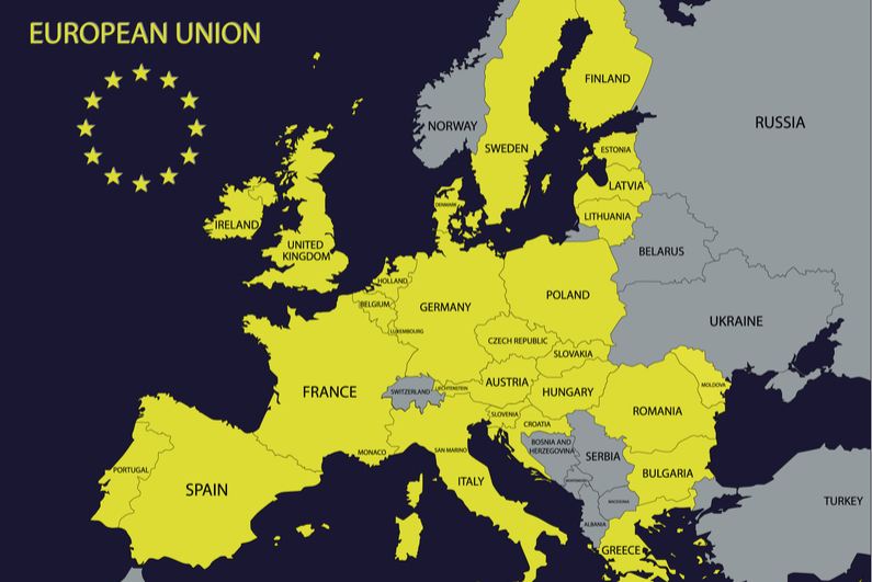 European Union countries in yellow on map