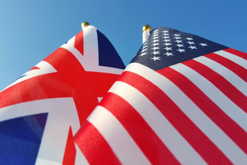 UK and US flags together