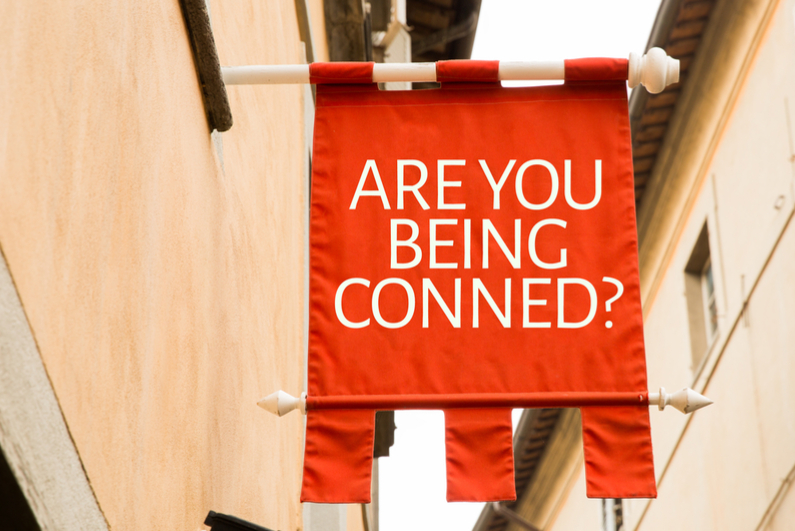 Banner that asks ARE YOU BEING CONNED?