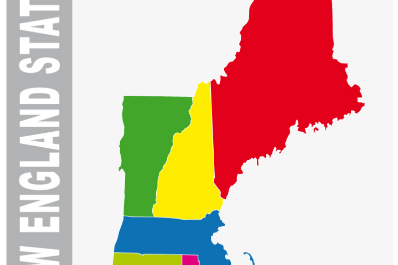 Map showing the 6 New England states