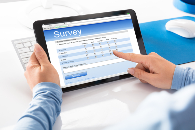 Woman filling out online survey