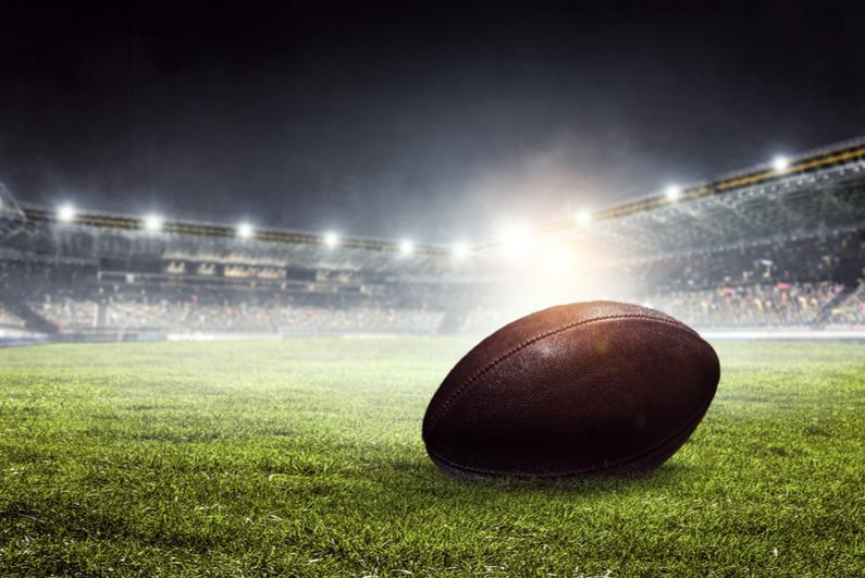 Ball on American football field