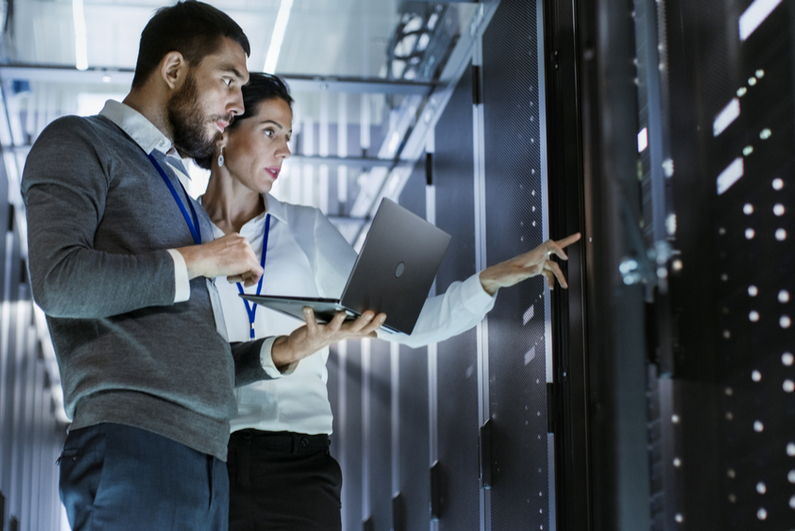 Computer experts checking data