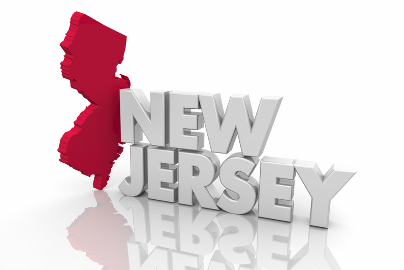 3D New Jersey map in red with large silver letters