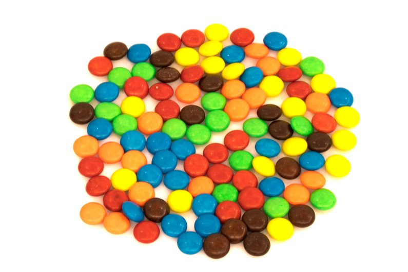 Colorful button-shaped candies