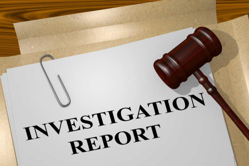 INVESTIGATION REPORT with judge's gavel