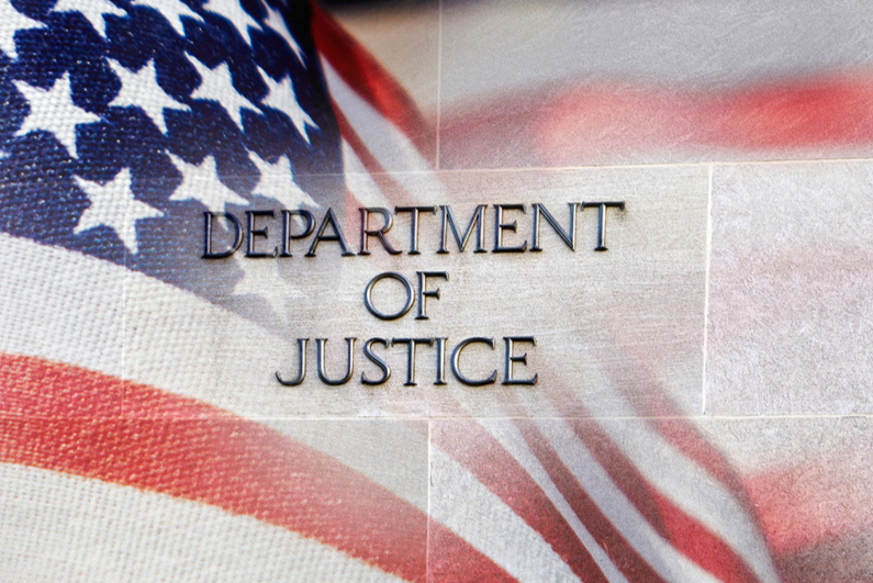 DEPARTMENT OF JUSTICE superimposed on US flag