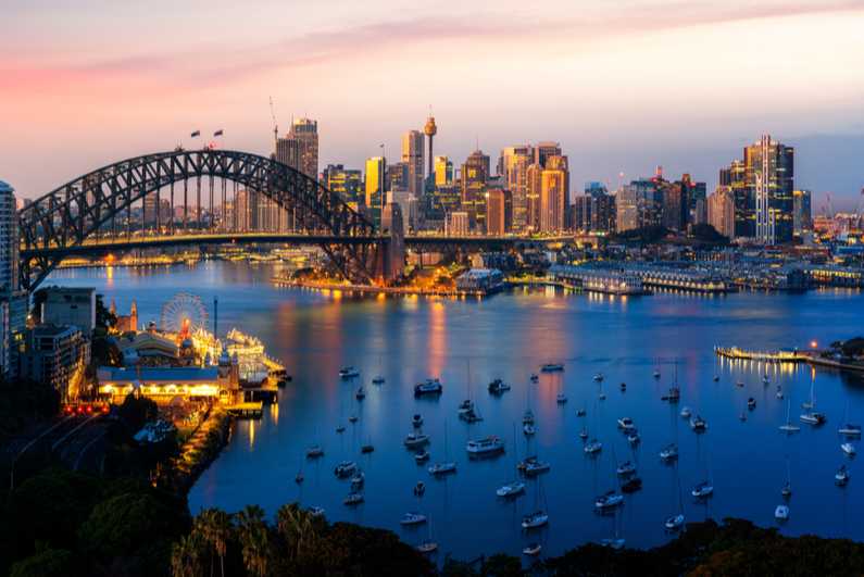 Panoramic view of Sydney Harbour