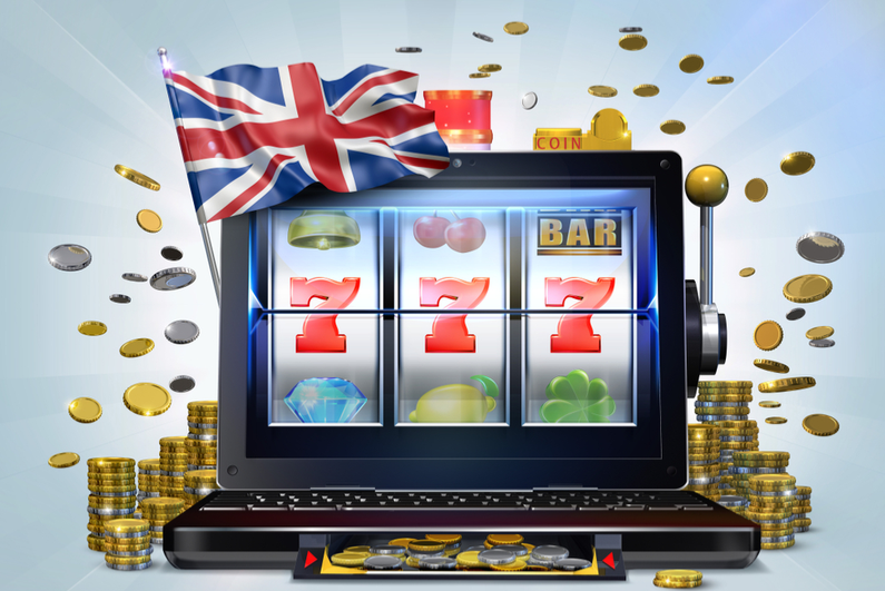 Slot machine with UK flag