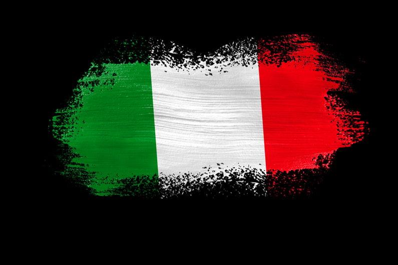 Brush painted flag of Italy