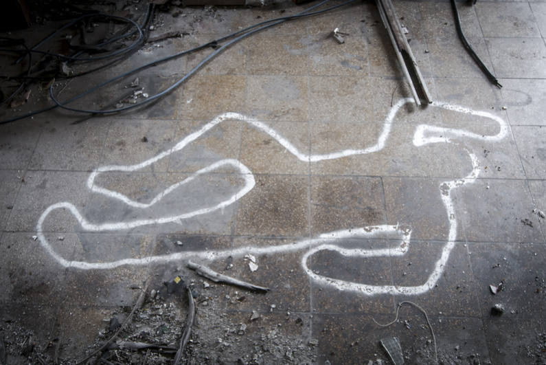 Chalk outline of body