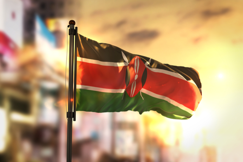 Flag of Kenya against blurred background