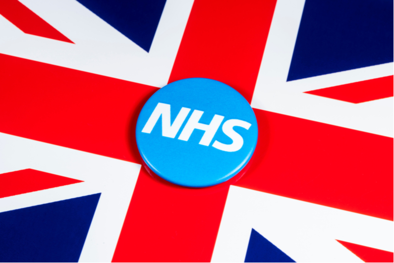 NHS symbol on UK flag