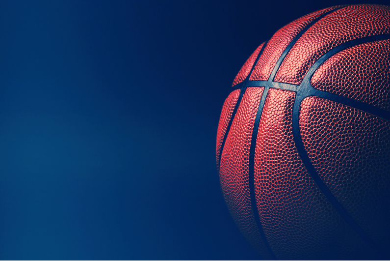 Basketball against black background