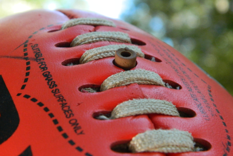 Closeup of Australian rules football