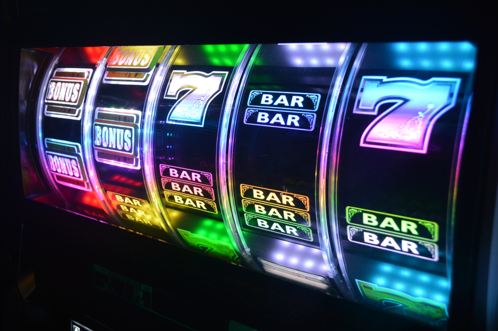 casino slot machine reels with bars and sevens