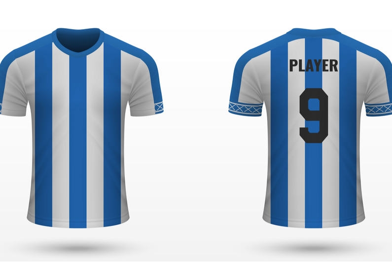 Huddersfield's distinctive blue-and-white striped jersey