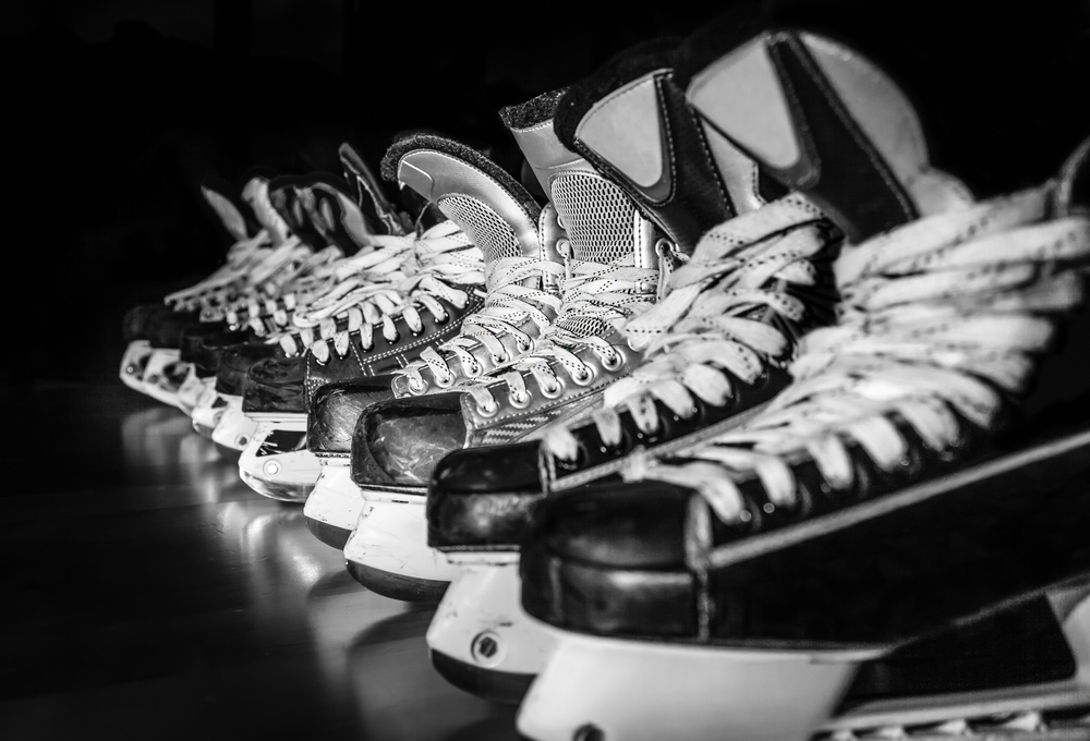 hockey boots lined up
