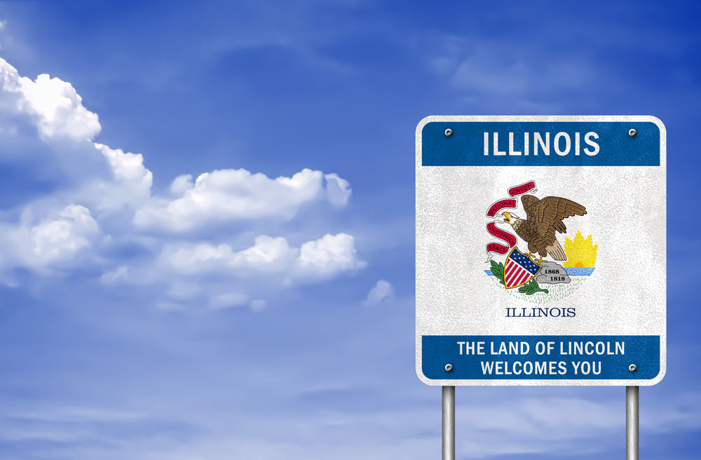road sign marking the state of Illinois