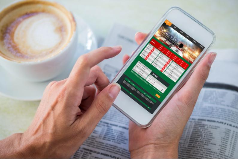 Gambling app screen on phone