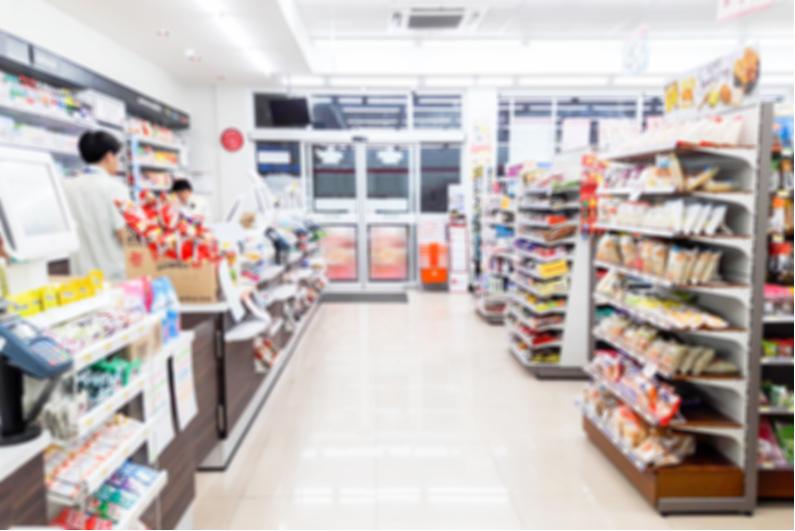 Blurred interior of convenience store