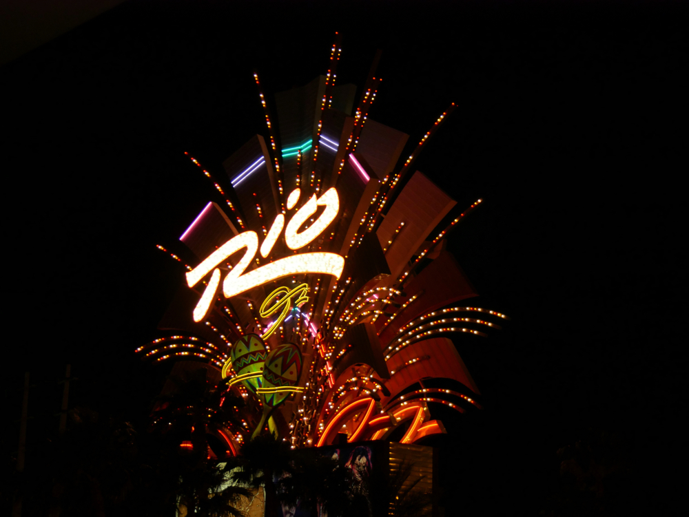 illuminated sign of Rio Hotel and Casino Las Vegas