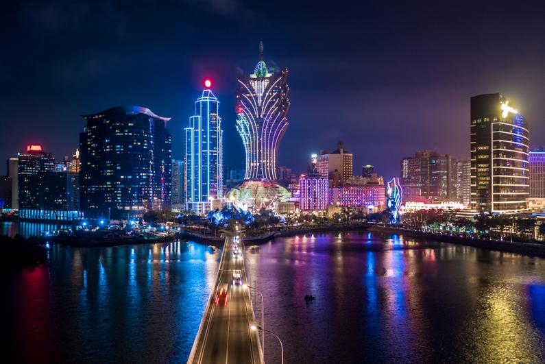 macau cityscape at night