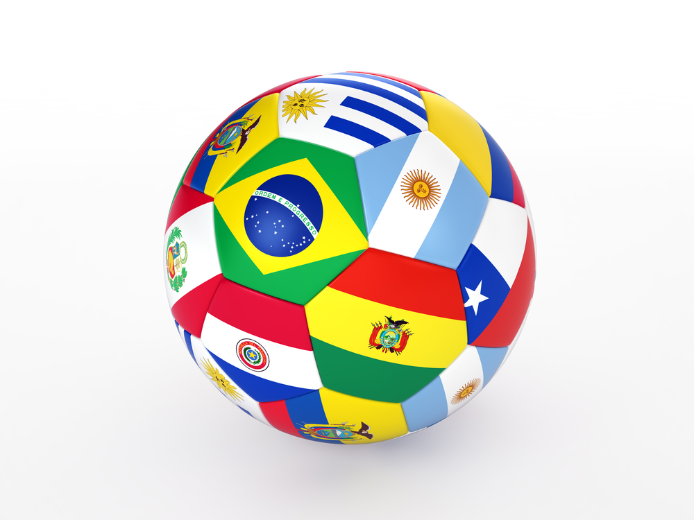 football showing south american flags
