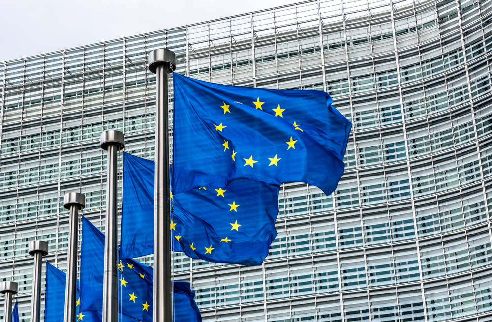 EU flags outside European Commission headquarters in Brussels